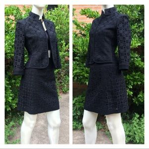 Fancy Eyelet Lace Black Wool Skirt Blazer Suit